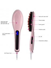 Fast Hair Straightener Comb with Temperature Display - Pink