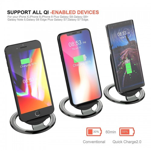 HOCO CW5 Qi Fast Charger Wireless Charging Pad Stand Desktop Holder