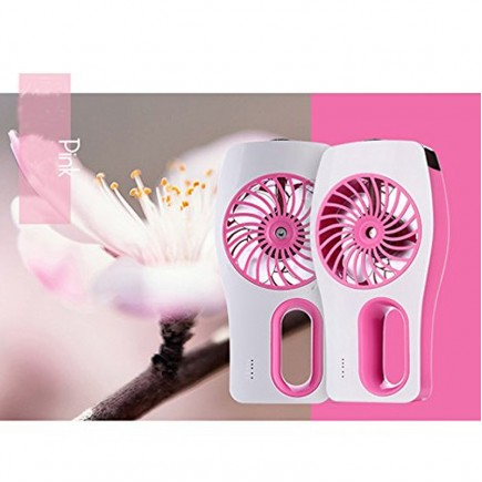Portable Mini Humidifier USB Rechargeable Cooling Fan - Pink