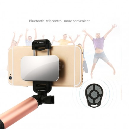 JOYROOM Selfie Stick For iOS & Android Devices with Selfie Remote  - Rose Gold