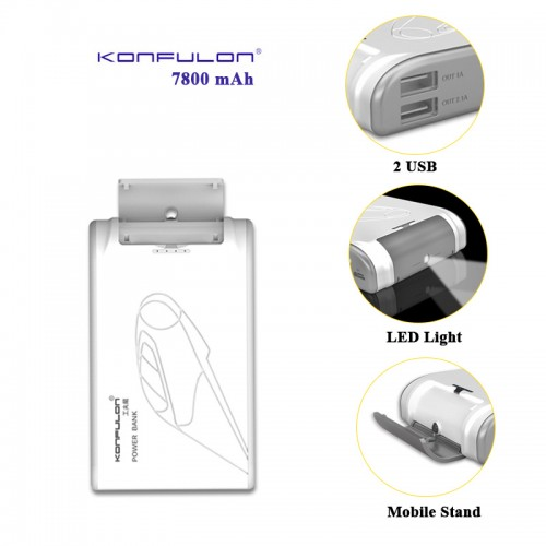 Konfulon 7800 mAh Power Bank with 2 USB ...
