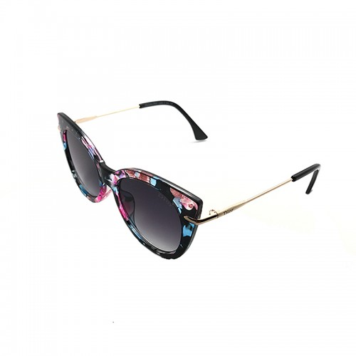 DIOR Blue Lens Flower Temple Gold Frame ...