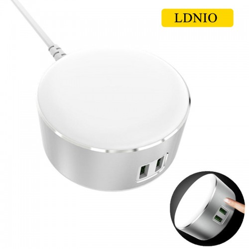 LDNIO A2208 LED Power Touch Lamp 2 USB S...