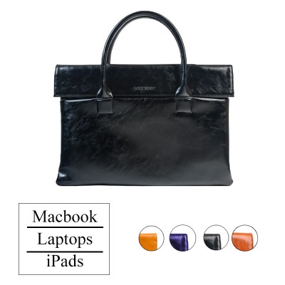LEOCKEE Leather Bag For MacBook and iPads - Black