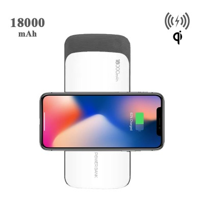 MOXOM 18000 mAh Qi Wireless Power Bank For iPhone X , Notw 8 , S8 Plus - White
