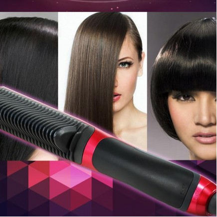 NEW Fast Hair Straightener Comb with Temperature Display - Pink