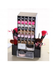 360 Degree Rotation Makeup Organizer 80 Lipstick Slots , Makeup Brushes Organizer , 2 Draws  and Removable Side 4 Compartment Holder