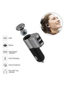 OVEVO Super Mini Headset with Portable 2 USB Car Charger