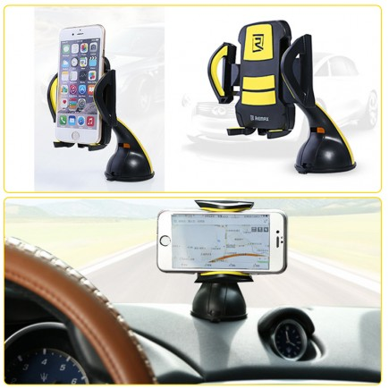 REMAX 360 Degree Rotating Car Windshield Mobile Holder For All Smartphones - White/Gray