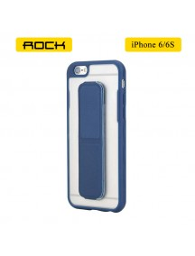 ROCK Unique Series Hybrid Shock Absorbing TPU Bumper Clear Back Magnetic Kickstand Case for iPhone 6/6S - Navy Blue