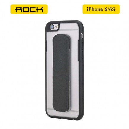 ROCK Unique Series Hybrid Shock Absorbing TPU Bumper Clear Back Magnetic Kickstand Case for iPhone 6/6S - Black