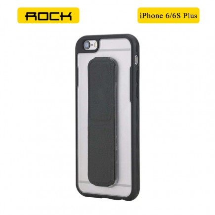 ROCK Unique Series Hybrid Shock Absorbing TPU Bumper Clear Back Magnetic Kickstand Case for iPhone 6 Plus/6S Plus- Black