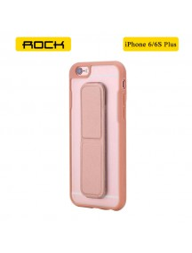 ROCK Unique Series Hybrid Shock Absorbing TPU Bumper Clear Back Magnetic Kickstand Case for iPhone 6 Plus/6S Plus- Rose Gold