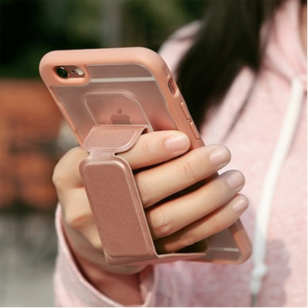 ROCK Unique Series Hybrid Shock Absorbing TPU Bumper Clear Back Magnetic Kickstand Case for iPhone 6/6S - Gold