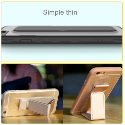ROCK Unique Series Hybrid Shock Absorbing TPU Bumper Clear Back Magnetic Kickstand Case for iPhone 6 Plus/6S Plus- Gold