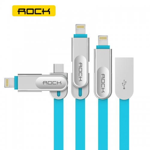 ROCK 2 in 1 Quick Charging Metal Flat Micro USB Cable with Lightning Connector for Apple & Androd Devices - Blue
