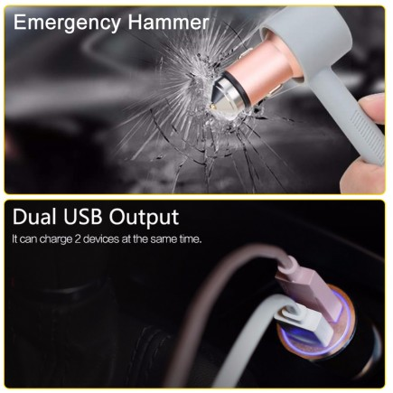 ROCK Hammer Dual USB 3.4A Car Charger with Emergency Hammer - Rose Gold