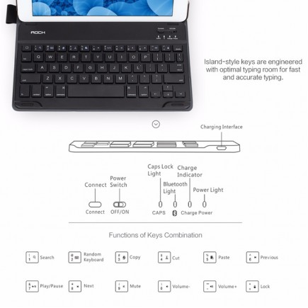 ROCK iPad Pro 9.7 inch KeyBoard - Black