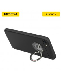 ROCK Ring Holder Case with Kick Stand & Magnetic Attraction For iPhone 7 - Black