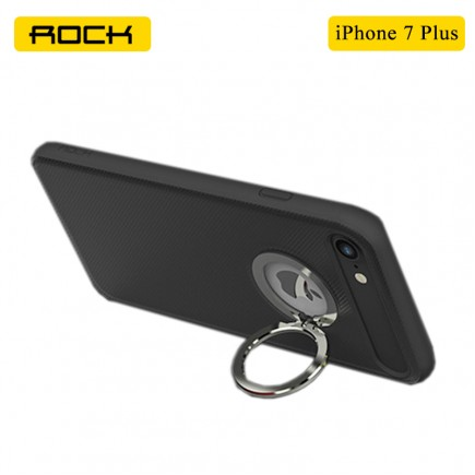 ROCK Ring Holder Case with Kick Stand & Magnetic Attraction For iPhone 7 Plus - Black