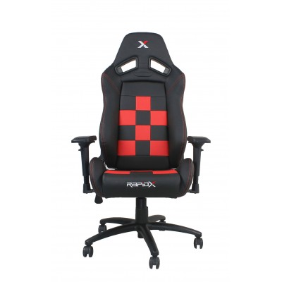 RapidX Finish Line Series Gaming Chair - Red on Black