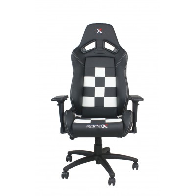 RapidX Finish Line Series Gaming Chair - White on Black