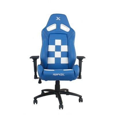 RapidX Finish Line Series Gaming Chair - White on Blue