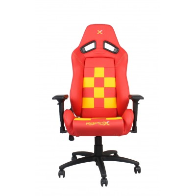 RapidX Finish Line Series Gaming Chair - Yellow on Red