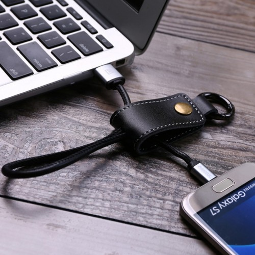 Portable Keychain Cable for Android Devices - Brown