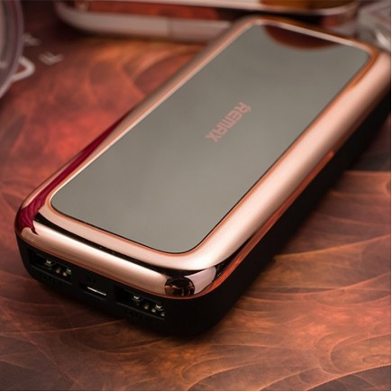 REMAX PPL-35 Portable 10000 mAh Mirror Power Bank - Silver