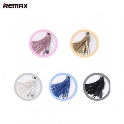 REMAX Tassels Ring Keychain USB 3A Charge/Syn Lightning Cable -Black