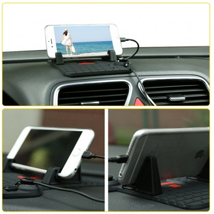 REMAX Flexible Car Charger Holder with 2 in 1 Connector for iOS & Android