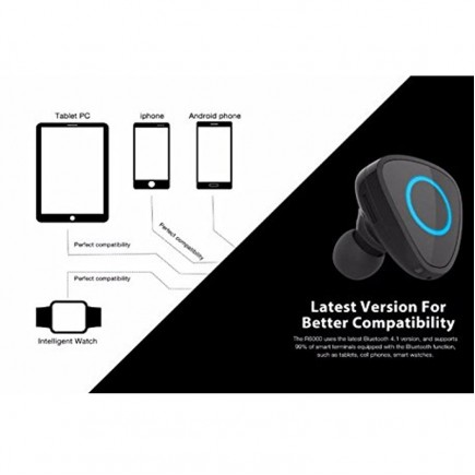 ROMAN R6000 Wireless Stereo Bluetooth Headset with Added USB Charger - White
