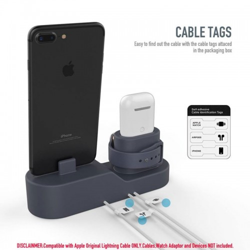 3 in 1 Premium Silicone Charging Stand for AirPods , Apple Watch , iPhone