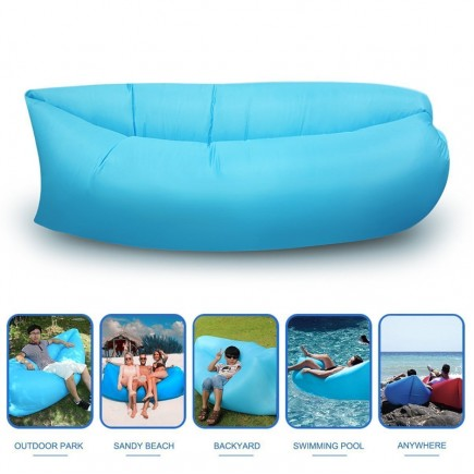 Fast Inflatable Lazy Sofa Bag , Sleeping Bag , Camping Bed , Beach Lounger, Portable Dream Chair - Blue