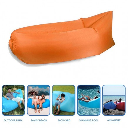 Fast Inflatable Lazy Sofa Bag , Sleeping Bag , Camping Bed , Beach Lounger, Portable Dream Chair - Orange