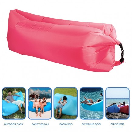 Fast Inflatable Lazy Sofa Bag , Sleeping Bag , Camping Bed , Beach Lounger, Portable Dream Chair - Pink