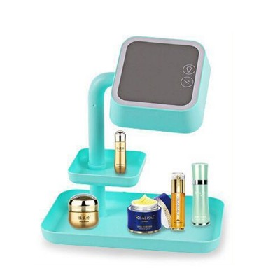 Mini LED Makeup Mirror with Storage - Blue