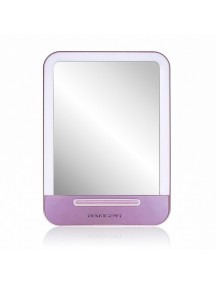 LED Cosmetic Portable Makeup Mirror  with Stand & 3-Level Dimmer - Pink