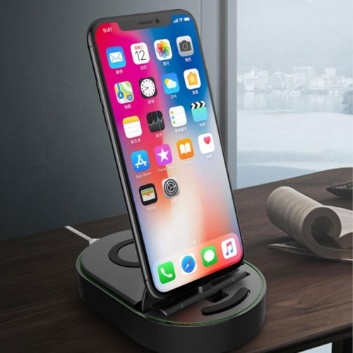 Totu Design 2 in 1 iPhone Dock with Wireless Charger - White