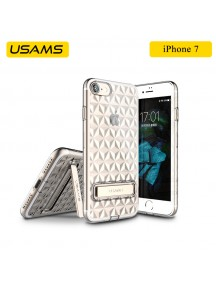 USAMS Unique Design Gelin Series Luxury Transparent TPU Case with Kickstand For iPhone 7 - Gold