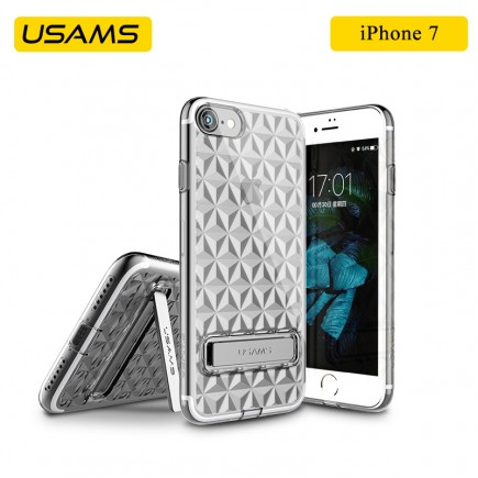 USAMS Unique Design Gelin Series Luxury Transparent TPU Case with Kickstand For iPhone 7 - Black