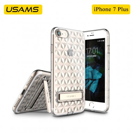 USAMS Unique Design Gelin Series Luxury Transparent TPU Case with Kickstand For iPhone 7 Plus - Gold