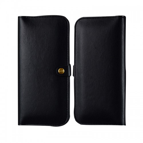 WUW Leather Portfolio Wallet Case For All Smarts Phones with Card Holder - Black