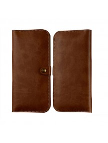 WUW Leather Portfolio Wallet Case For All Smarts Phones with Card Holder - Brown