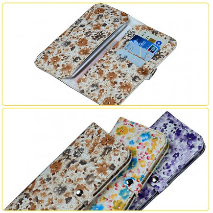 WUW Women Leather Portfolio Wallet Case For All Smarts Phones with Card Holder - Blue/Yellow