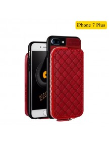 WUW Special Design Leather Wallet Case For iPhone 7 Plus - Red