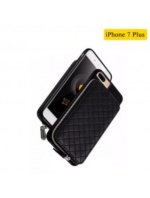 WUW Special Design Leather Wallet Case For iPhone 7 Plus - Black