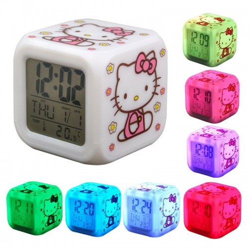 Hello Kitty  7 Color Led Digital Alarm C...