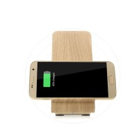 YoLike A8 10W Qi Wireless Charger Stand Wood Grain Dual Coil for iPhone X / 8 Plus / 8 / Note 8 -  Basswood